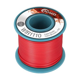 BOBINA CABLE FLEXIBLE 0.5mm ROJO 25m