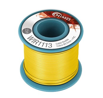 BOBINA CABLE FLEXIBLE 0.5mm AMARILLO 25m