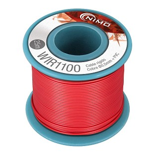 BOBINA CABLE RIGIDO 0.5mm ROJO 25m
