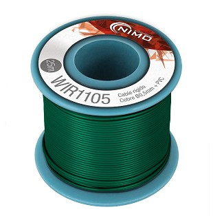 BOBINA CABLE RIGIDO 0.5mm VERDE 25m