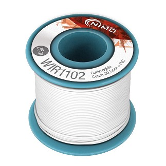 BOBINA CABLE RIGIDO 0.5mm BLANCO 25m