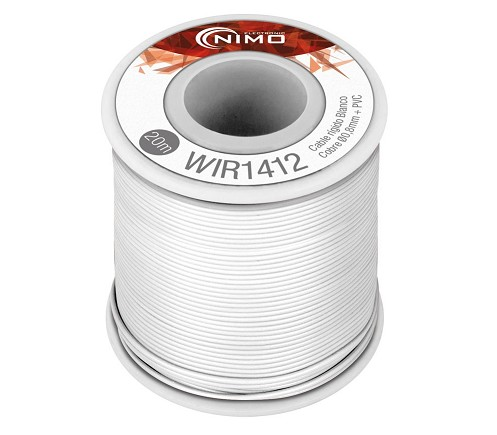 BOBINA CABLE RIGIDO 0.8mm BLANCO 20m