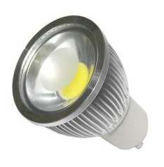 LAMPARA LED ALUMINIO COB 5W GU-10 220V BLANCO CALIDO
