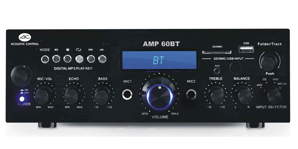AMPLIFICADOR ESTEREO MP3 USB Y BLUETOOTH AMP60BT